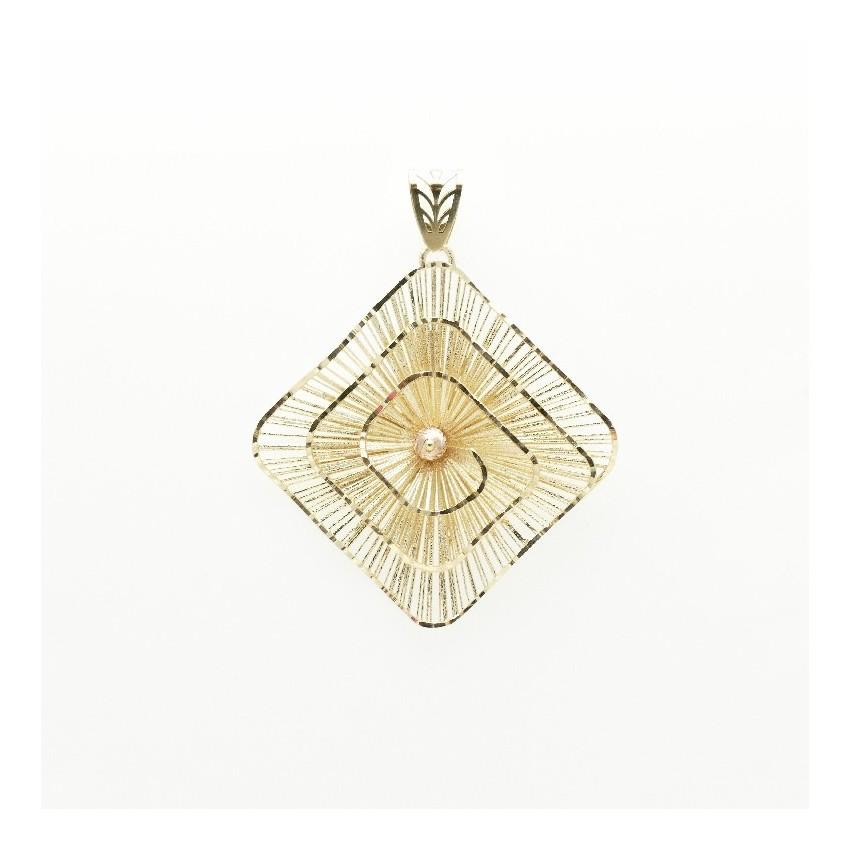 Colgante rombo espiral oro