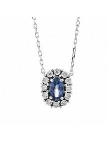 Colgante Gargantilla Roseta Zafiro y Diamantes