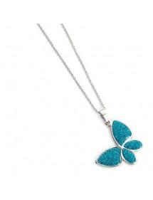 Collar mariposa turquesa